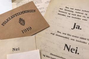 Stemmesedler fra avstemningnen i 1919