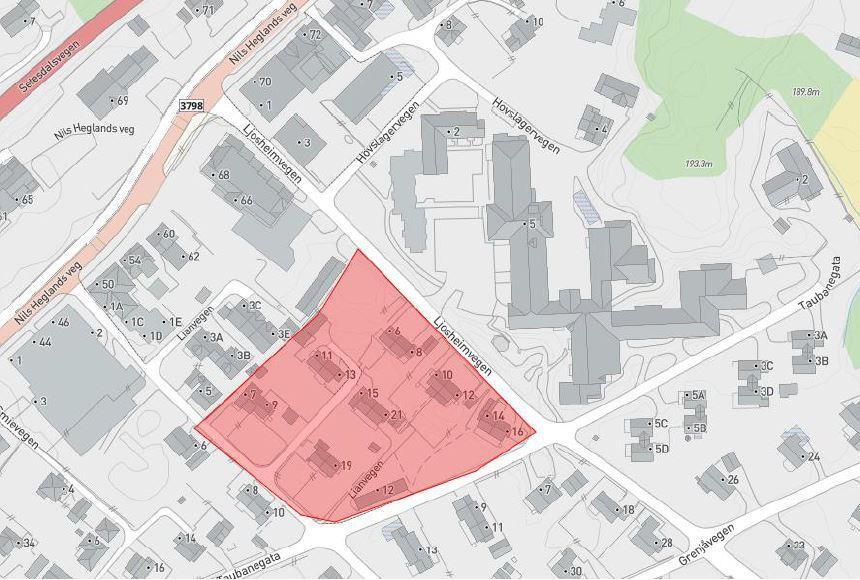 Bilde, kart. Forslag til detaljregulering for Lianvegen Park.