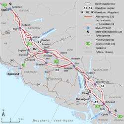 Kartet viser aktuelle traseer for ny E39