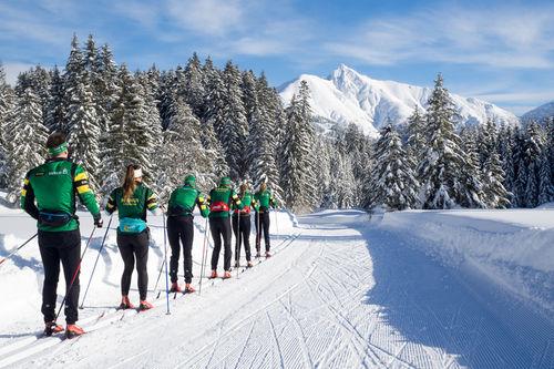 Det grønne toget fra Team NTNUI Sweco i Seefeld i Østerrike i januar 2019. Foto: Team NTNUI Sweco.