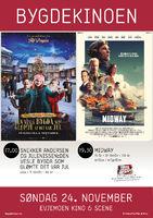 Plakat som viser at filmene Snekker Andersen og julenissen: Den vesle bygda som glømte at det var jul og Midway vises på Evjemoen Kino & Scene søndag 24. november 2019