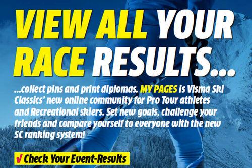 Visma Ski Classics lanserer My Pages med dine personlige resultater og mye mere.