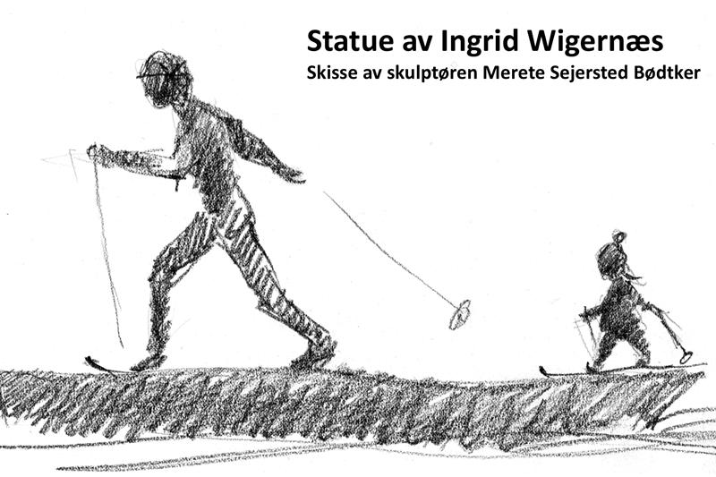Statue av Ingrid Wigernæs. Skisse laget av skulptøren Merete Sejersted Bødtker.