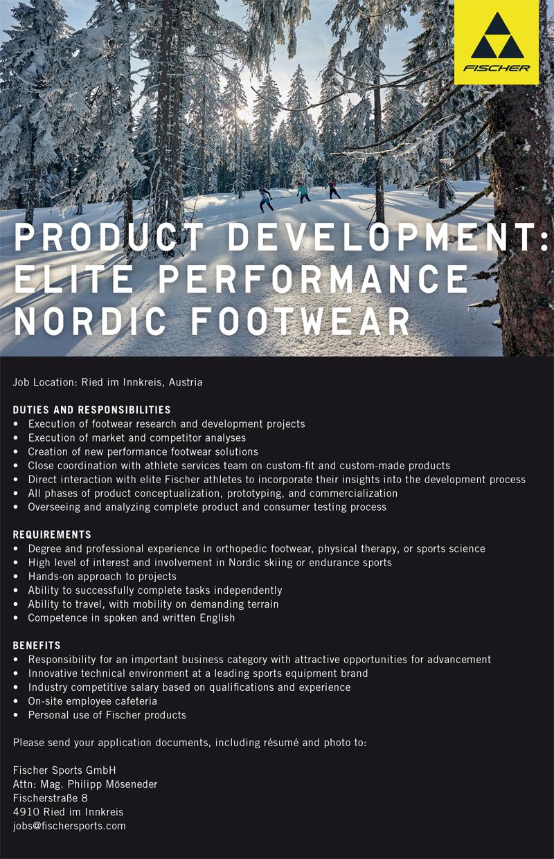 Fischer søker produktutvikler til sitt team innen skisko.