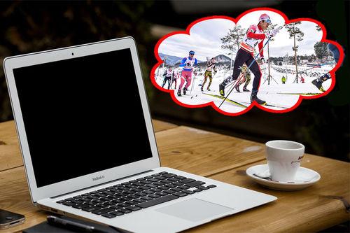 Drømmer du også om å få deg en god treningstur mens du sitter på kontoret og er stresset av tidsklemma. Kontorfoto: Creative Commons/Pixabay.com. Langrennsfoto: Thibaut/NordicFocus. Montasje: Langrenn.com.