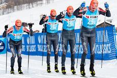 Team Ragde Eiendom på vei mot raskeste tid blant herrene i lagtempoen under Pro Team Tempo i Livigno som åpnet Visma Ski Classics 2019-2020. Foto: Magnus Östh/Visma Ski Classics.