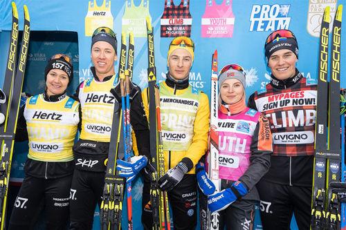 Trøyeledere etter første runde av Visma Ski Classics i forbindelse med Prolog Weekend i Livigno høsten 2019. Foto: Magnus Östh/Visma Ski Classics.