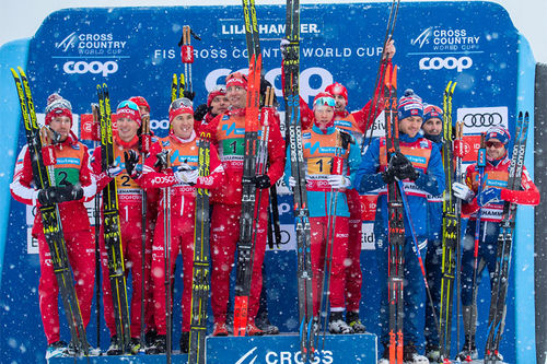 Herrestafetten under verdenscupen i langrenn på Lillehammer 2019 ble russernes dag, de tok dobbeltseier foran Norge. Foto: Thibaut/NordicFocus.