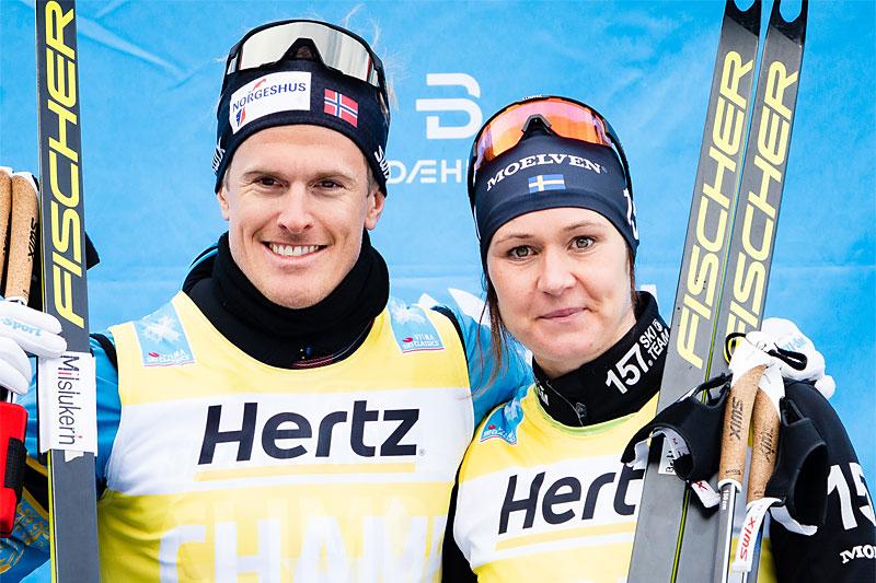Morten Eide Pedersen og Britta Johansson Norgren leder Visma Ski Classics totalt etter de 3 første delkonkurransene vinteren 2019-2020. Foto: Magnus Östh/Visma Ski Classics.