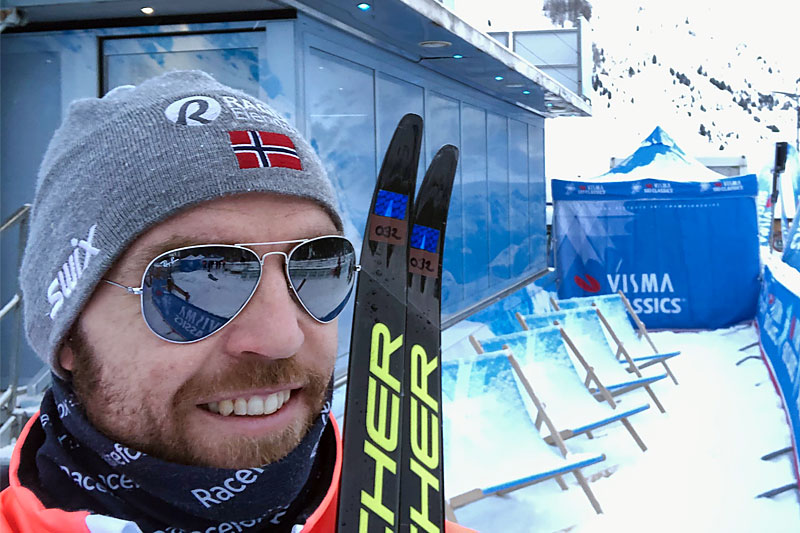 Tord Asle Gjerdalen i samband med Visma Ski Classics-rennet La Venosta i midten av desember 2019. Foto: Privat.