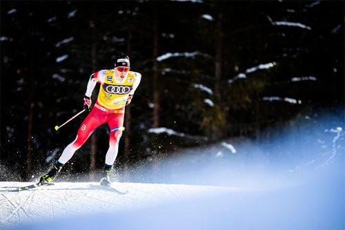 Johannes Høsflot Klæbo underveis på 3. etappe av Tour de Ski 2019-2020. Foto: NordicFocus.