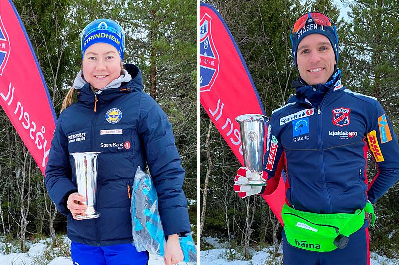 Vinnere av Uglapokalene 2020 ble Alise Einmo, Strindheim IL (Kvinner senior) og Didrik Tønseth, Byåsen IL (Menn senior). Dette var den 88. utgaven av skirennet. Foto: Egil Aune/Byåsen IL.