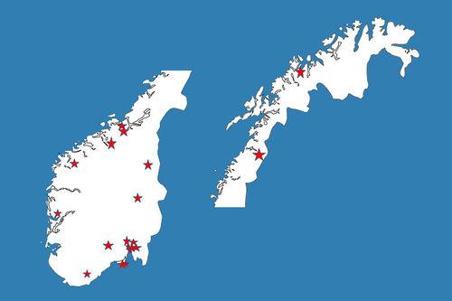 Kartet viser hvor topp 20 kommer fra. Grafikk: Einar Aabrekk og Langrenn.com.