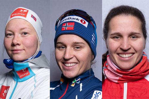 Trioen som gikk inn til NM-gull i stafett 2020 i etapperekkefølge fra venstre: Amalie Håkonsen Ous, Lotta Udnes Weng og Tiril Udnes Weng. Foto: Thibaut/NordicFocus.