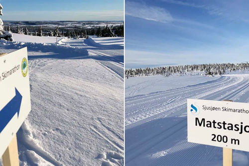 3 dager foran Sjusjøen Skimarathon 2020 fra Sjusjøen Skisenter Natrudstilen ser det slik ut i fjellet. Arrangørfoto.