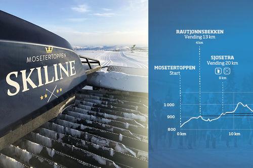 Løypekart for Hafjell Ski Marathon i Øyerfjellet med start og mål fra skistadion ved Mosetertoppen.