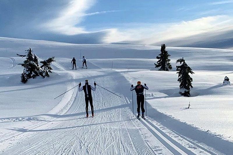 NTG Lillehammer ute på langrennstrening i fjellet. Foto: NTG Lillehammer.