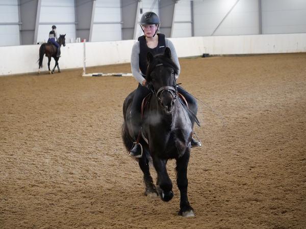 Ridelærerstudent Liv Kristin Dybsand og dølahoppa Fagerli Lilja i dyp konsentrasjon under avslutningen på årets remonteopphold.
