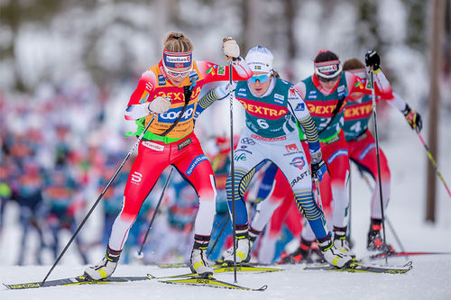 Teten av Ski Tour 2020 ute på den fjerde etappen i Meråker. Foto: Thibaut/NordicFocus.