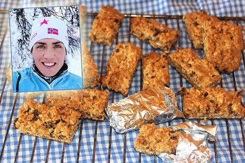 Sunniva Dring er selv habil utøver i flere kondisjonsidretter og jobber med ernæring og som produktutvikler i United Bakeries. Foto: Bildet av Sunniva er privat og energibarer er tatt av Ingeborg Scheve.