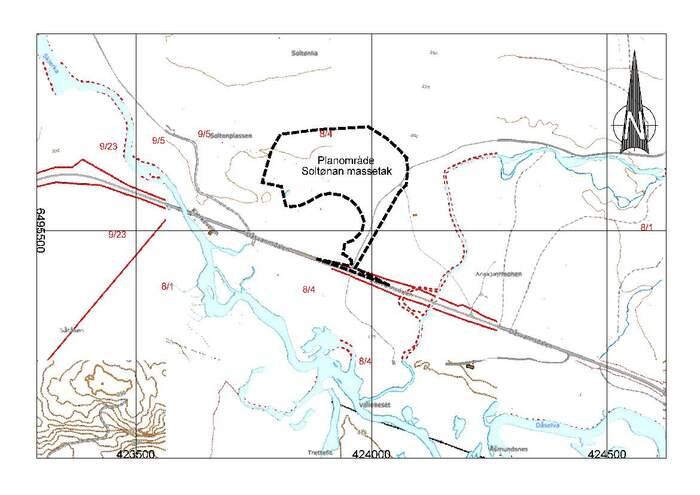 Kart over område som det er søkt om å bruke til masseuttak. Dette er til bruk i høringssaken til hjemmesida.