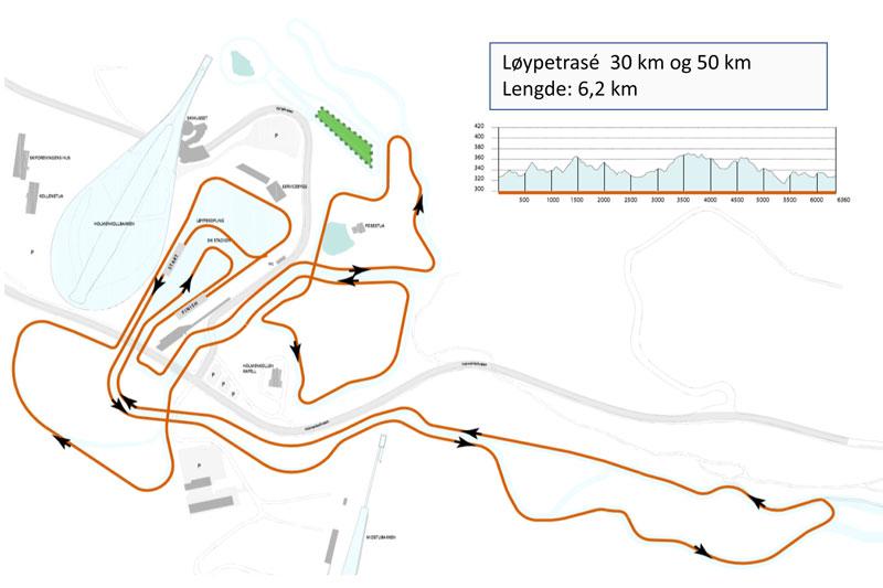 Trasé for 3- og 5-mila under Holmenkollen Skifestival 2020.