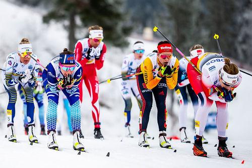 Langrennsløpere under verdenscupen i Holmenkollen. Foto: Modica/NordicFocus.