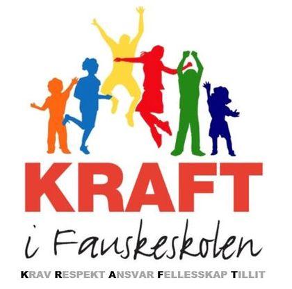 Logo med figur og tekst  KRAFT i Fauskeskolen