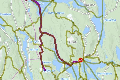 Kartutsnittet viser hvor løypemaskinen har kjørt opp langrennsløyper som en del av kjørebok-modulen i Løyper.net.
