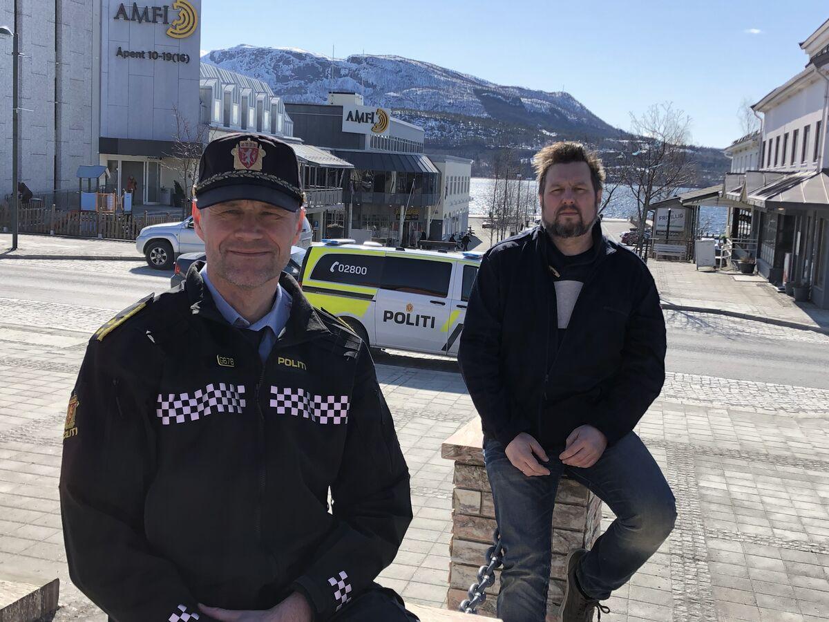 Bjørn Tore Rønning (politi) og Gregory Hautois (konstituert kommueoverlege smittevernlege)