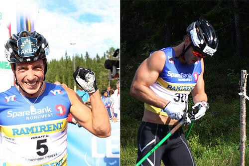 Gutter med arm-muskler, til venstre Eldar Rønning fra da han vant 15 km fellesstart under Toppidrettsveka i Knyken en tidligere sesong. Til høyre Johan Kjølstad i samme renn. Foto: Geir Nilsen/Langrenn.com.