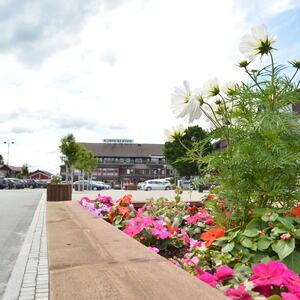 Bilde fra Evje sentrum på en sommerdag. Blomster.