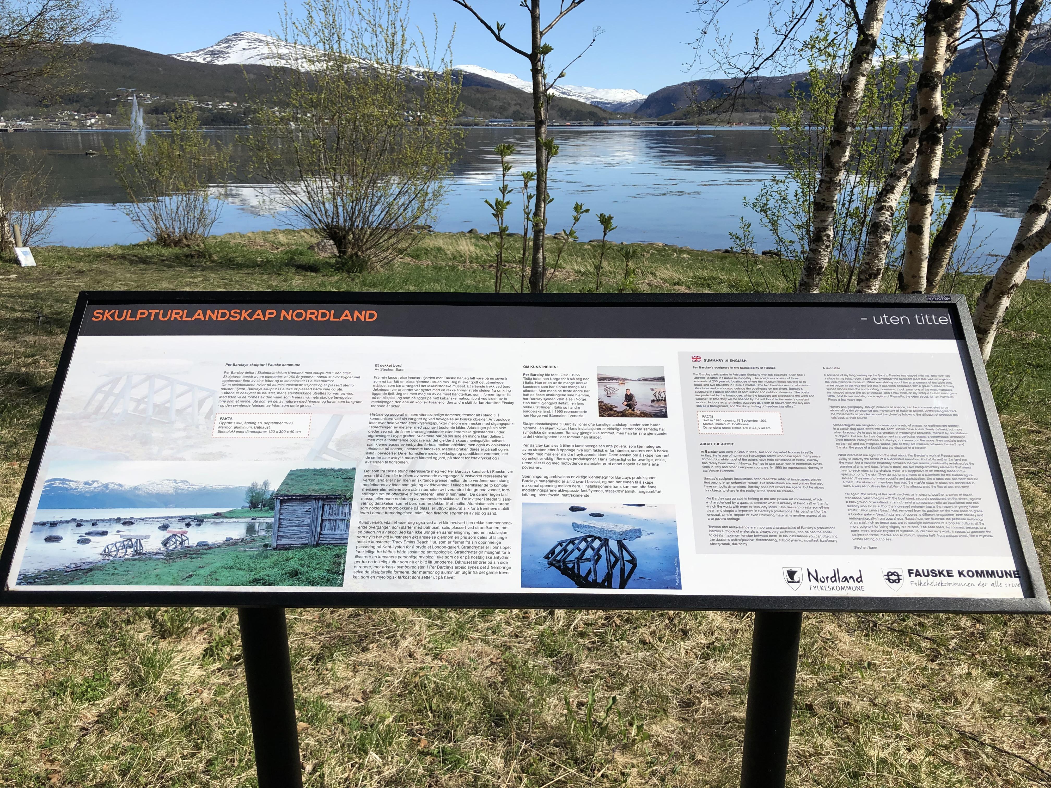 Skilt skulpturlandskap Nordland Fauske