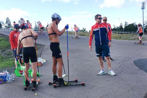 Skilandslaget på trening i Holmenkollen i slutten av juni 2020. Foto: Ingeborg Scheve.