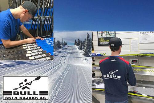 Ansatte ved Bull Ski og Kajakk i full gang med plukking og tilpasning av ski til sine kunder. Foto: Bull Ski og Kajakk AS.