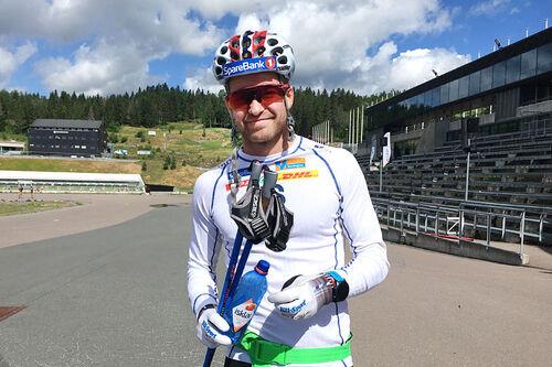 Sjur Røthe på landslagets trening i Holmenkollen. Foto: Ingeborg Scheve.