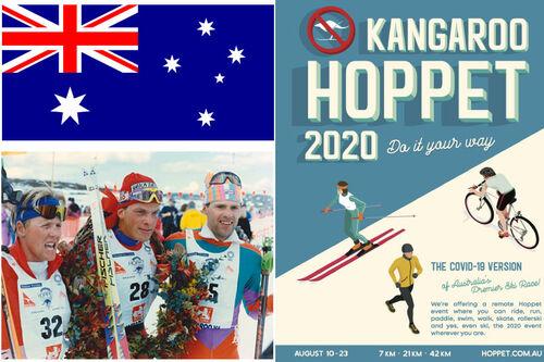 Anders Aukland i midten, flankert av Andre Jungen (SUI) og Ales Vanek CZE) i et arrangørfoto fra 1993. Australias flagg fra Wikipedia og arrangørens plakat for 2020-utgaven av Kangaroo Hoppet. Montasje: Langrenn.com.