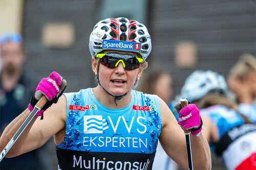 Maiken Caspersen Falla sikret seg seieren under sprinten på BLINK 2020. Foto: Axelar / Hans Lie.