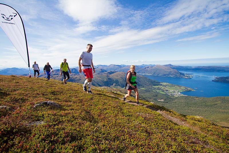 Sylvia Stokke, Per Oterholm, Erland Pettersen, Terje Humstad og Lars Pettersen på toppen av Reinsfjellet med Torvikbukt i bakgrunnen. Foto: Daniel Kvalvik.