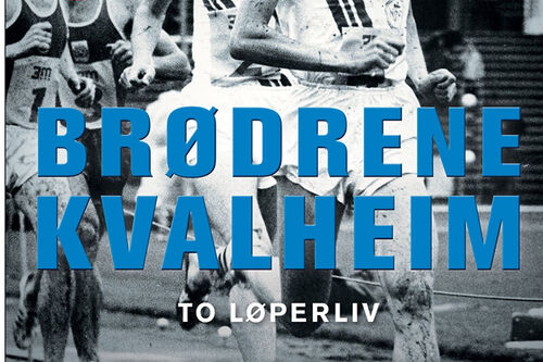 Forsiden til boka Brødrene Kvalheim - to løperliv, utgitt av Gyldendal og skrevet av Thor Gotaas.