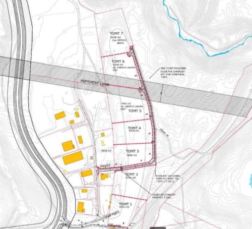 Bildet viser en karttegning der tomtene på Bergermoen vises