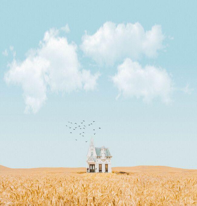 Bildet viser et veldig lite hus på et veldig stort jorde.