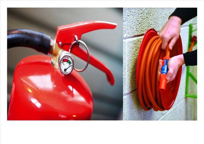 Bildet viser en brannslukker og et brannslukkingsapparat