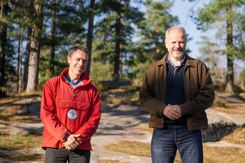Erik Eide i Skiforeningen og Ingulf Horn i Ultimate Nordic inngår samarbeid. Foto: Christian Haukeli.