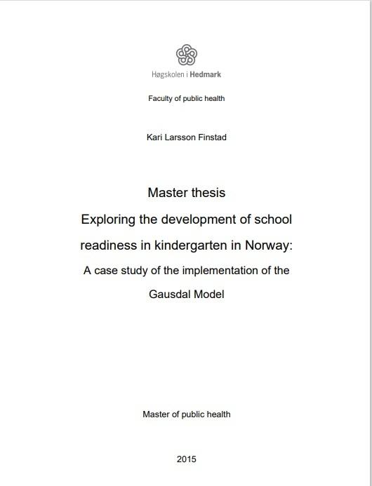 Gausdalsmodellen, masteroppgave, Finstad 2015