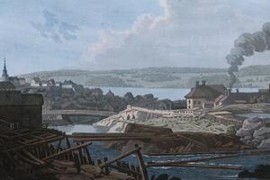 Byen Moss rundt år 1800. (J.W. Edy)
