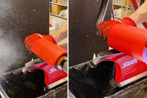 Rotodeksel med avsug til høyre, som man ser er det ikke smøringspartikler i lufta, slik som varianten til venstre viser. Der står støvskyen grunnet fravær av sug. Foto: BRAV / Swix Sport.
