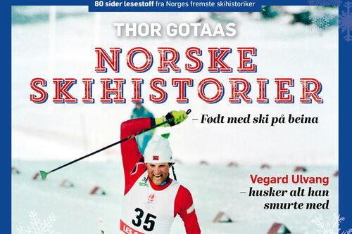Deler av forsiden til juleheftet Norske skihistorier fra Thor Gotaas og Gyldendal forlag.