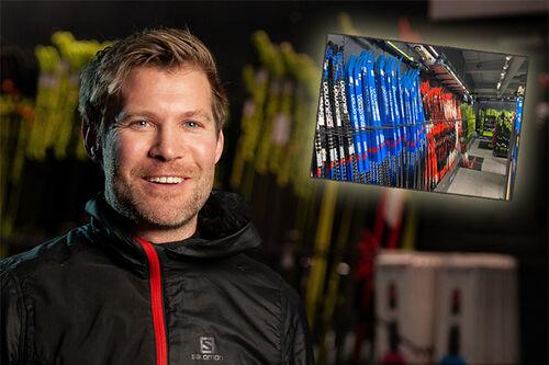 Lars Litlere hos Milslukern Sport med langrennski på rekke og rad så langt øyet kan se. Foto: Milslukern / Erik Odiin.