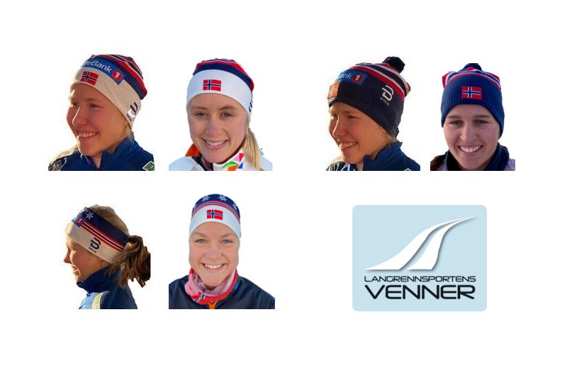 Luer og pannebånd fra Langrennsportens Venner sesongen 2020/2021. Foto: Langrennsportens Venner.